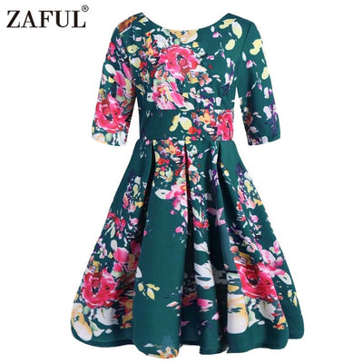 Retro Large Size 6XL 7XL 8XL Women Dress Vintage Zipper Floral Print Tunic Big Swing Dress Plus Size Dresses For Women 4XL 5XL