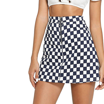 Joineles Women Mini Skirts Spring Summer Ring Zip Up Plaid Skirts Casual A-Line Party Skirts 2019 New Femme Vestidos