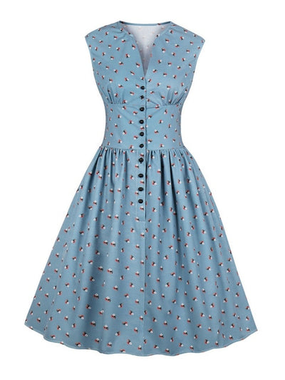 Women Summer Vintage Dress Floral Print V-Neck Sleeveless Pin Up Vestidos Button Fly Evening Party Rockabilly Retro Dress