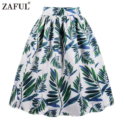 Retro Pocket Women Vintage Skirt Summer Floral Leaf Print Skirts Casual Zipper Side High Waist A-Line Party Skirts Plus Size