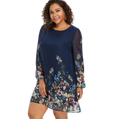 Plus Size 5XL Floral Print Chiffon Dress Women New Autumn Long Sleeve Casual Dress Female Dresses Spring Women's Clothing