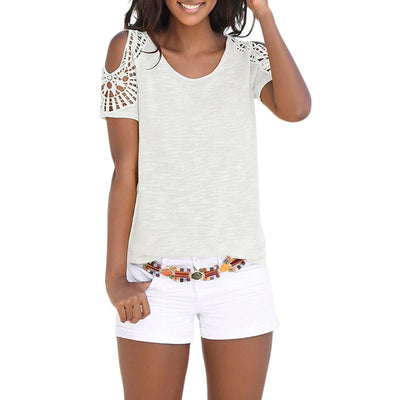 t shirt Womens Bohemian Beach Tees Shirt Short Sleeve O Neck Off Shoulder Lace Patchwork Tops Tee Shirt Top camiseta 7.3L3