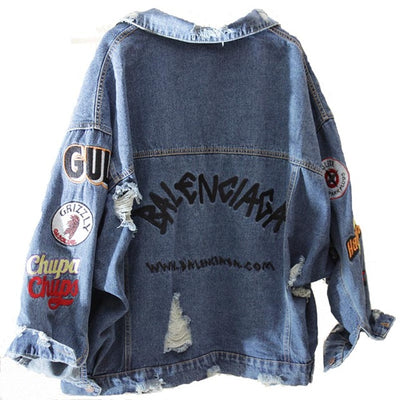 2019 BF Harajuk Loose Denim Jacket Women Embroidery Jeans Coat Hip Hop Hole Single Breasted Jeans Jacket Casual Women Jacket
