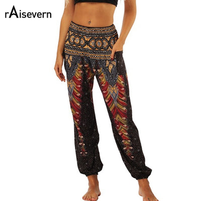 Raisevern Vintage Print Women Casual Pants 2019 Summer Boho Beach Elastic High Waist Chiffon Trousers Sporting Pants Dropship