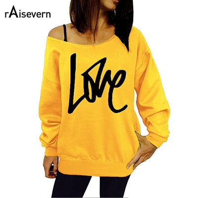 S-5XL Plus Size 2019 Sexy Off Shoulder Harajuku Sweatshirt Women  Letter Love Wibey Printed Pullovers Hoodies Casual Tops