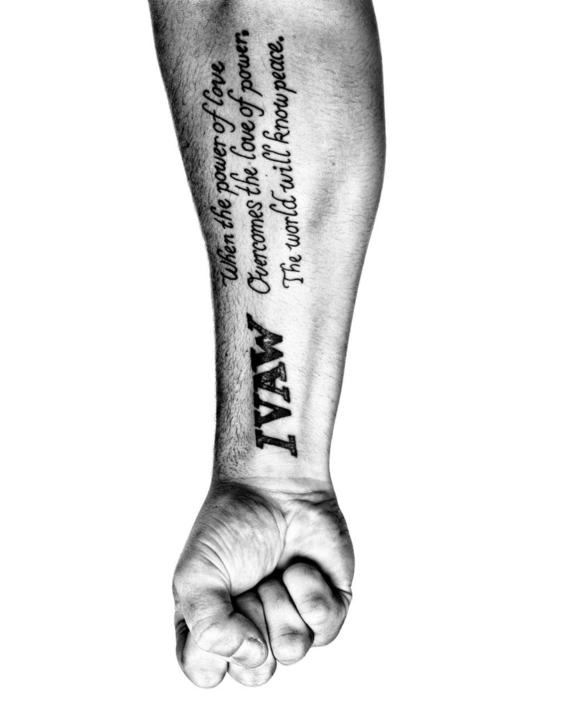 SERVICE: The arm of Adam Kokesh, an outspoken member of Iraqi Veterans Against the War. Philadelphia, 2008.