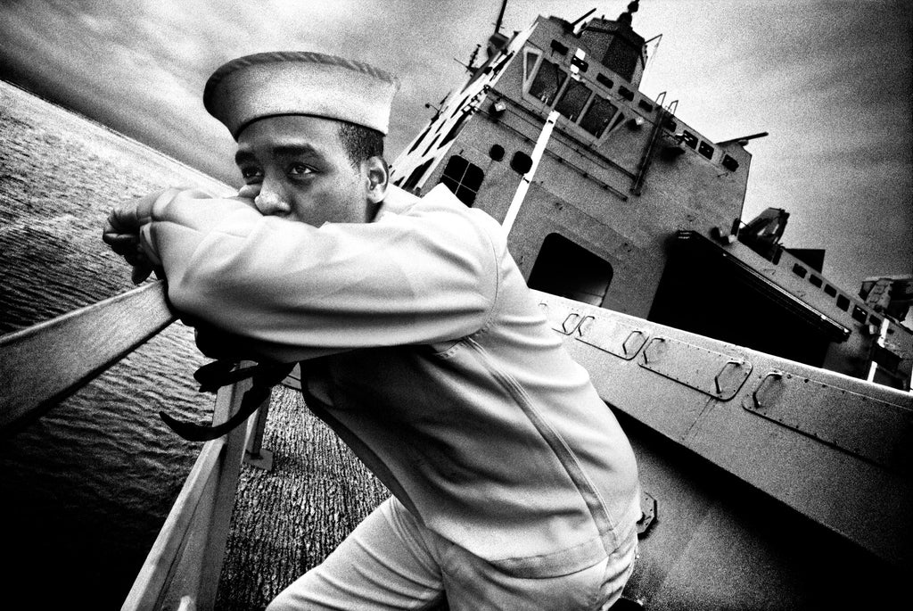 SERVICE: Seaman Kevin Dean stands on the deck of the USS San Antonio. Norfolk, VA, 2008.