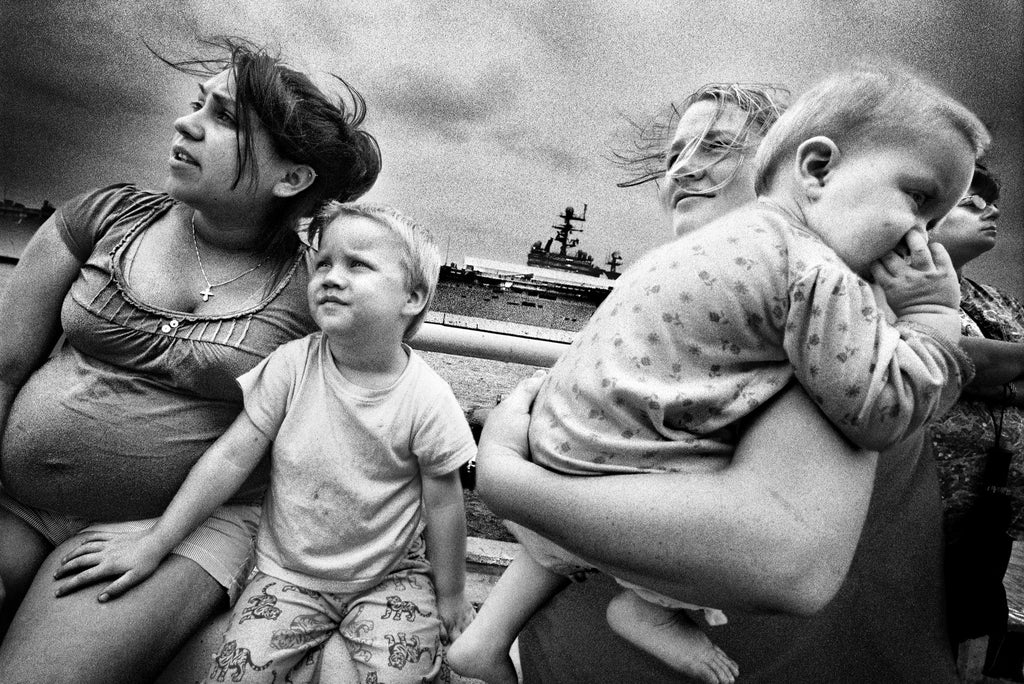 SERVICE: Families saying goodbye to soldiers departing on the USS Iwo, Jima. Norfolk, 2008.
