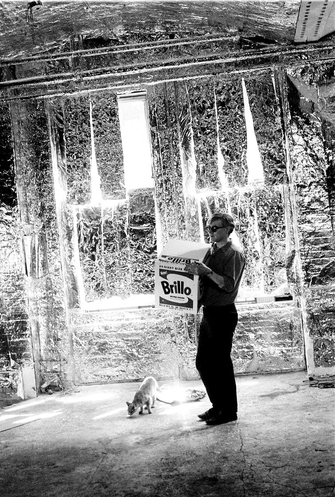 The Silver Age - Andy Warhol carries a Brillo Box Sculpture