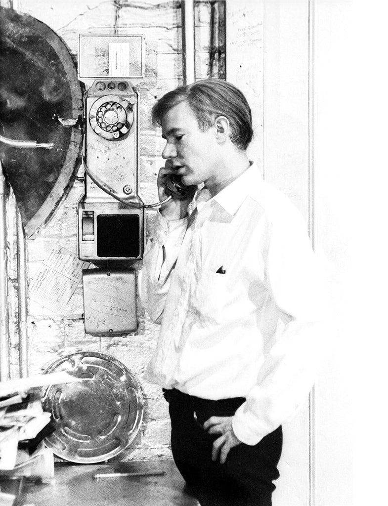 The Silver Age - Andy Warhol on the payphone at the Silver Factory