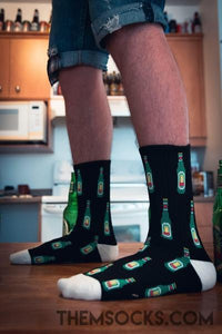 Beer Bottle Patterned Socks - Themsocks