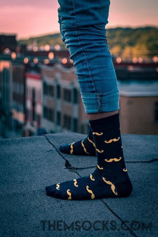 Mustache Patterned Socks - Themsocks