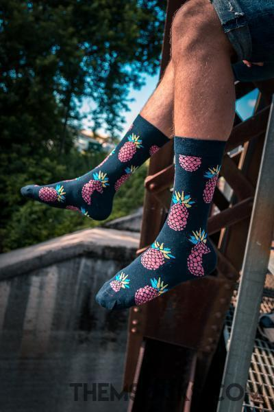 Purple Pineapple Patterned Socks - Themsocks