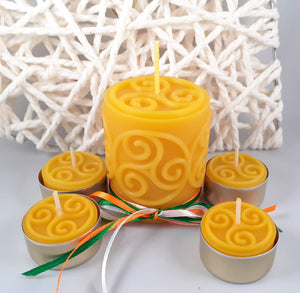 "Gift Set  ""Triskele""- pillar candle and tealights"