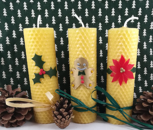 Trio of rolled Christmas Candles