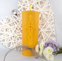 Load image into Gallery viewer, Pure Beeswax Candle with intricate Cross relief