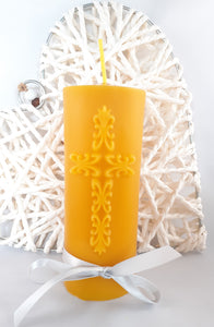 Pure Beeswax Candle with intricate Cross relief