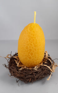 Egg shaped ornate pure beeswax candle