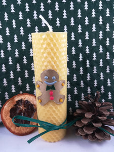 Rolled natural beeswax candle - Gingerbread Man