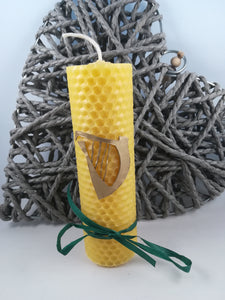 Natural hand-rolled beeswax candle with Irish Harp