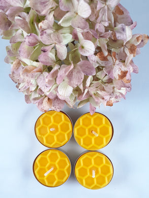 Pure Beeswax Tealights with Honeycomb design