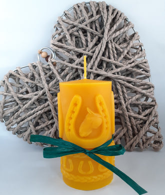 Pure Beeswax Candle with Horse and Horseshoe relief