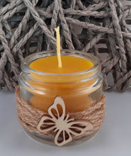 Load image into Gallery viewer, Glass jar beeswax candle with cord and butterfly decoration