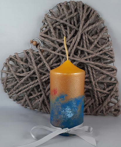 Hand-painted natural beeswax pillar candle