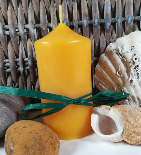 Hand-poured natural beeswax pillar candle