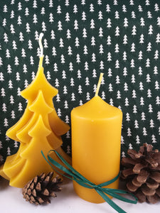 Duo of poured natural beeswax candles