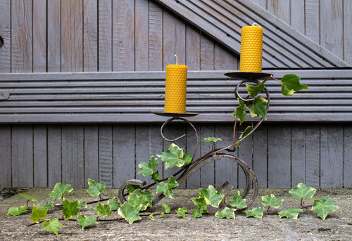 Hand-rolled natural beeswax pillar candle