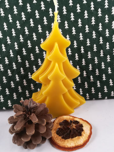 Hand-poured natural beeswax Christmas Tree candle