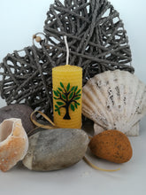 Load image into Gallery viewer, Hand-rolled natural beeswax candle with tree design