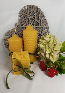 Trio of Hand-poured natural beeswax candles