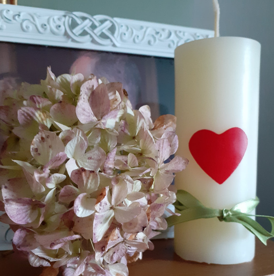 Ivory Valentine's Candle - Red Heart