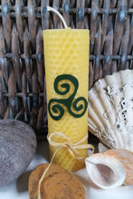 Load image into Gallery viewer, Hand-rolled natural beeswax candle with Triple Spiral design