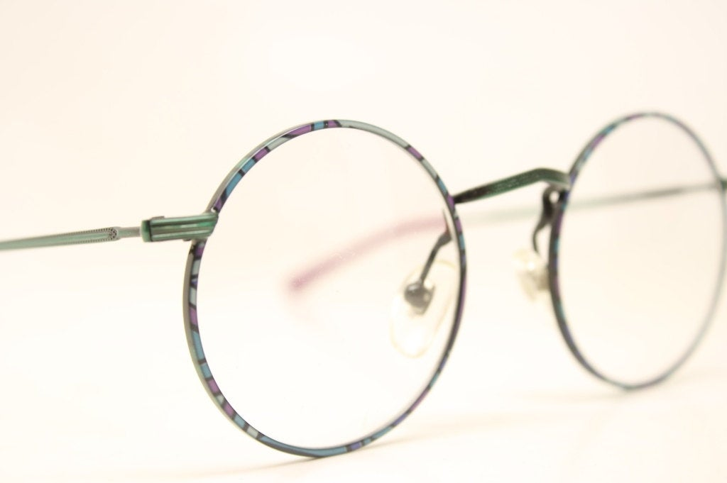 Glasses Kids Round Eyeglasses Vintage Small Green Aluminum Unique Retro Eyeglasses