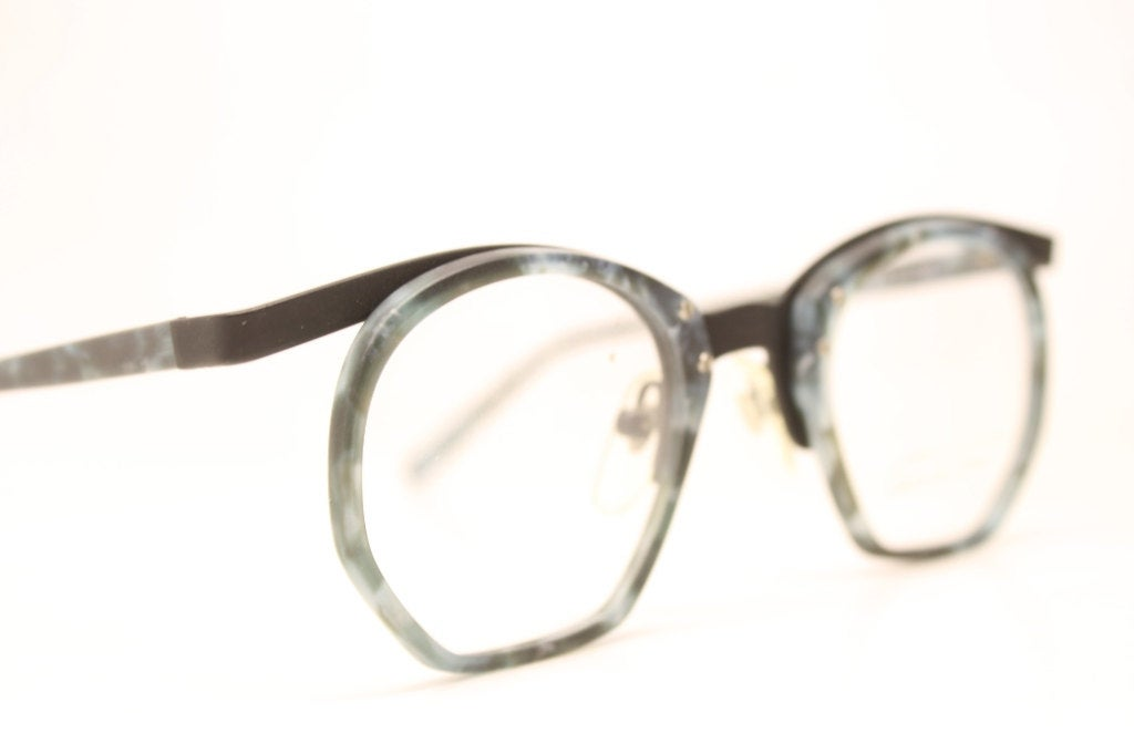 Vintage Black Blue Glasses Frames Unique 1980s Retro Eyeglass Frames