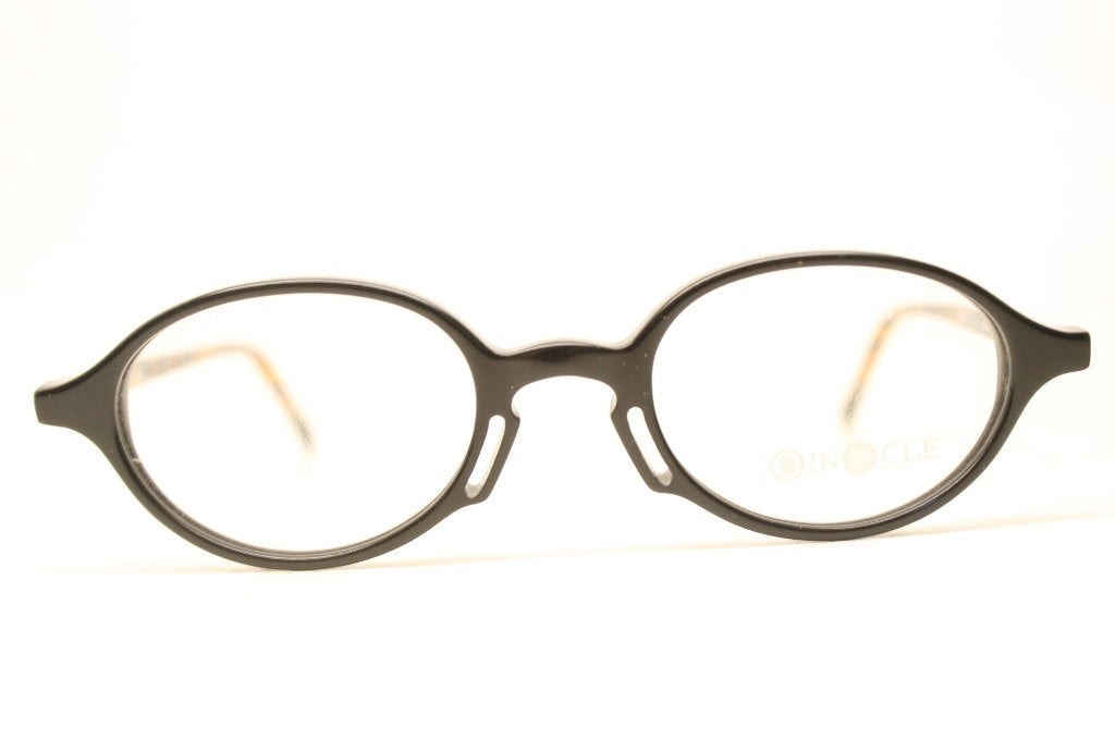Black Tortoise Oval Glasses Frames Vintage 1980s Retro Eyeglasses
