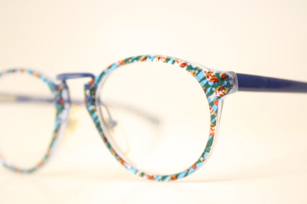 Unused Blue Colorful P3 Small Vintage Eyeglasses Retro Classic Glasses Frames