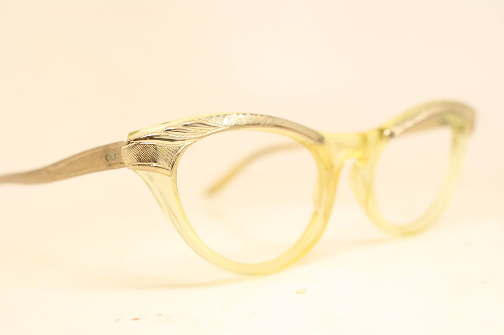 Gold Yellow Combination Cat Eye Eyeglasses Vintage Eyewear Retro Glasses Cat Eye Frames