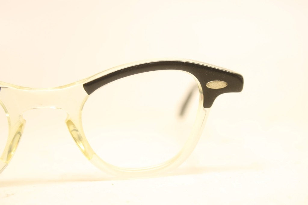 Small Black Yellow  Cat Eye Eyeglasses Vintage Eyewear Retro Glasses Cat Eye Frames