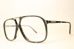 Unused Black Gray Aviator Vintage Eyeglasses Haute Couture Retro New Old Stock Classic Eyeglasses NOS New Old Stock