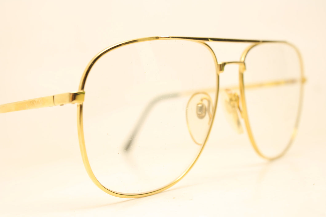 Unused Gold  Aviator Vintage Eyeglasses Haute Couture Retro New Old Stock Classic Eyeglasses New Old Stock
