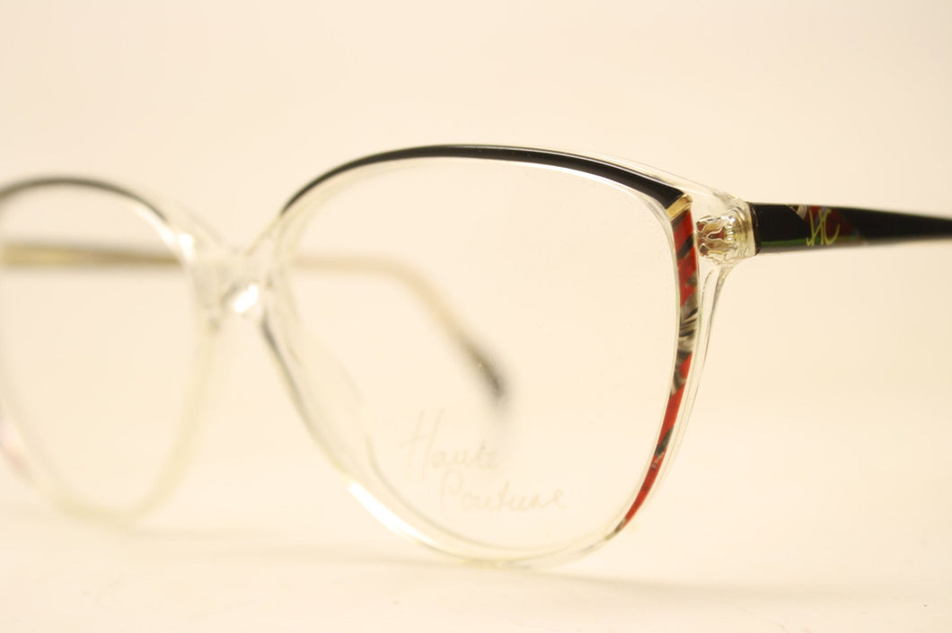 Unused Black Red Clear Vintage Eyeglasses Haute Couture Retro New Old Stock Classic Eyeglasses NOS