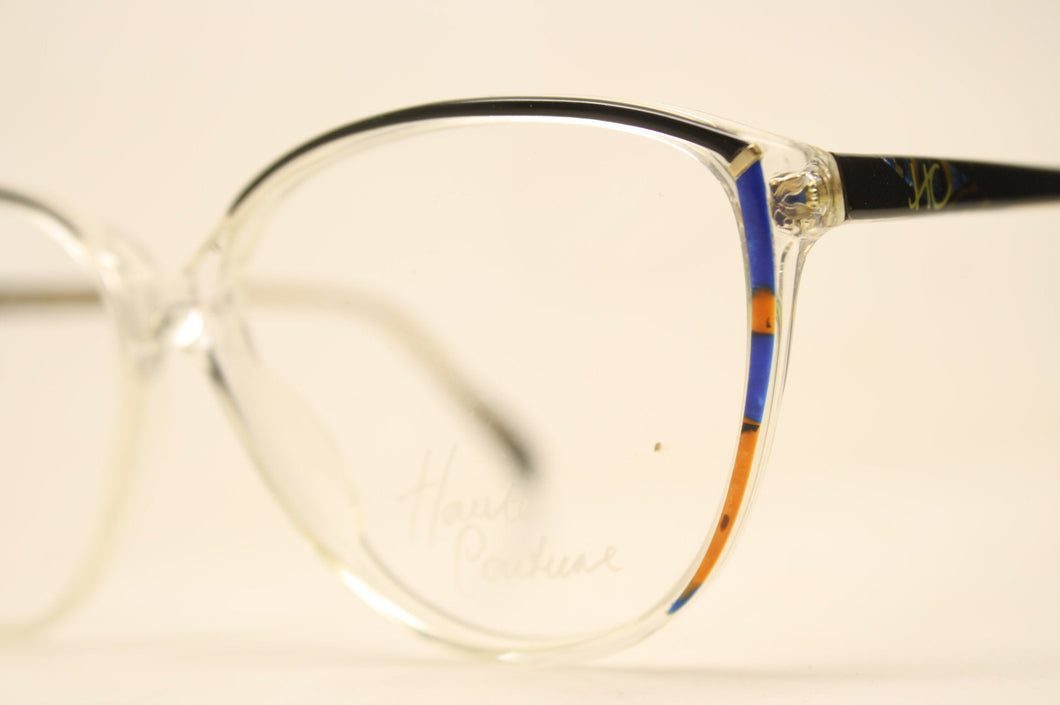 Unused Black Blue Clear Vintage Eyeglasses Haute Couture Retro New Old Stock Classic Eyeglasses NOS