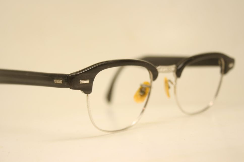 Vintage Glasses SRO Black Briar Browline 1950's Wire Rim Eyeglasses G Man Style Malcolm X glasses g man eyeglasses