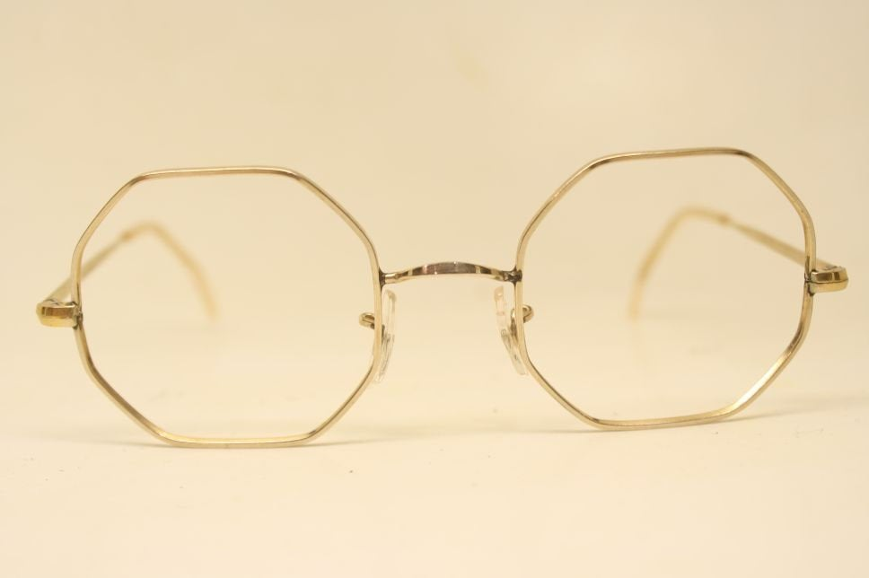 Unused gold octagonal Glasses Vintage eyeglasses Antique glasses