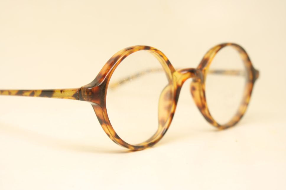 Round Glasses Tortoise  Small Frames Unique 1980s Retro Eyeglass Frames