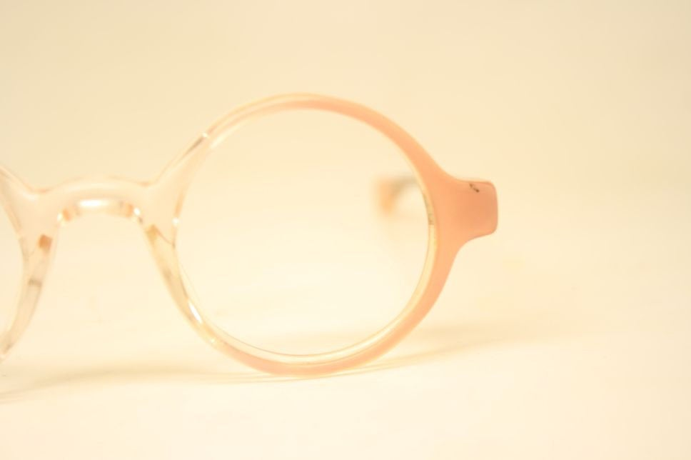 Round Glasses Pink Clear Child Size Frames Unique 1980s Retro Eyeglass Frames